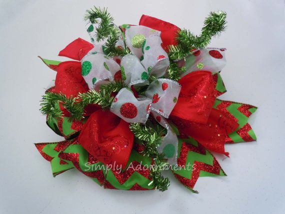 Whimsical Red and Lime Christmas Tree Bow by SimplyAdornmentsss