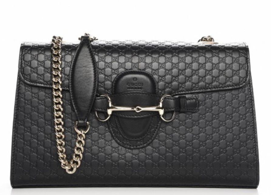 3275d61913b3 NEW Gucci Women's 449635 Black Micro GG Guccissima Leather Emily Purse  Handbag