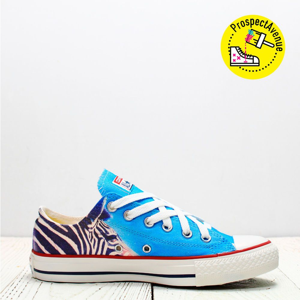 9f01abb5fddd Zebra Custom Converse All Star low top animal print sky blue lace up  sneakers  Converse