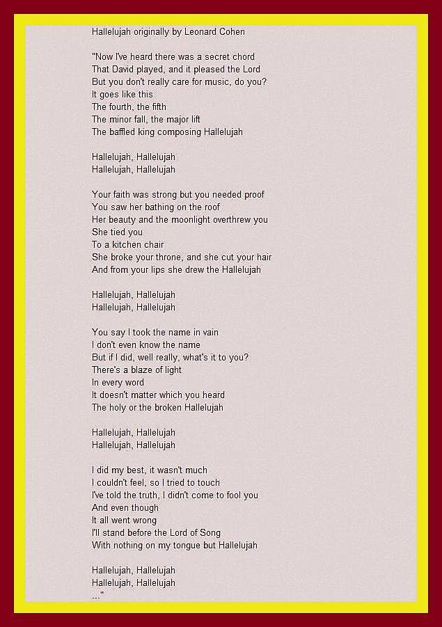 alleluia lyrics - Google Search | Beautiful Music and Singers of ...
