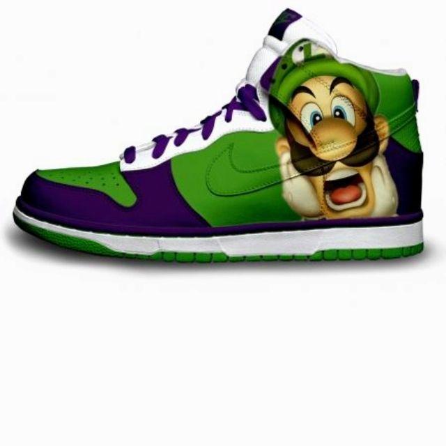 luigi mario nike dunks high custom green pattern