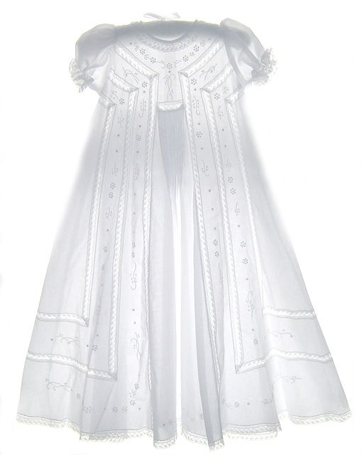 NEW Will'beth Embroidered Christening Gown with Pintucks and Lace Insertion with Short Puffed Sleeves $160.00
