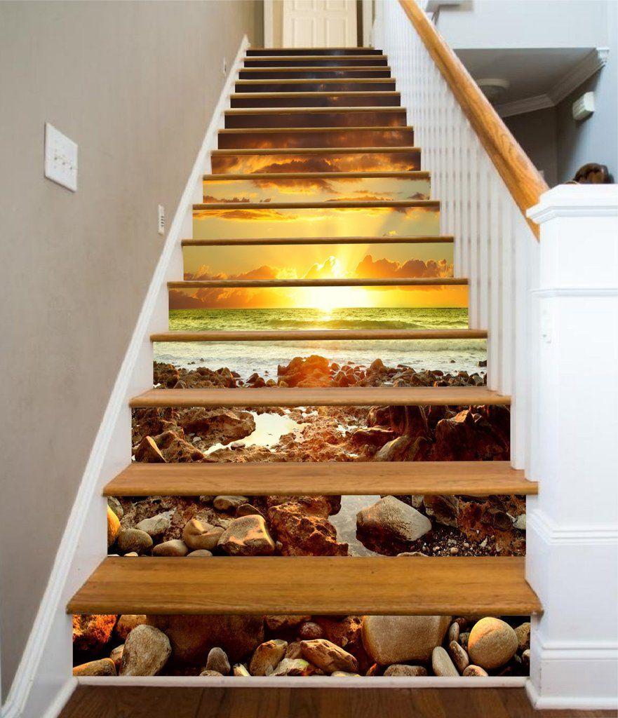 3D Stones Beach Bright Sunset 1464 Stair Risers AJ