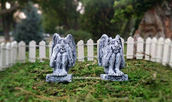 Halloween Fairy Garden Gargoyles - Set of Angsty Scared Fall