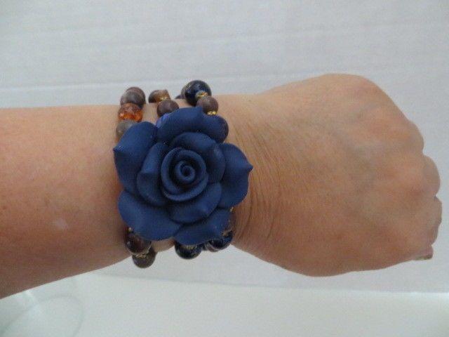 Memory Wire Navy Fimo Clay 40mm Flower Beaded Bracelet Wrap-Around #Beaded