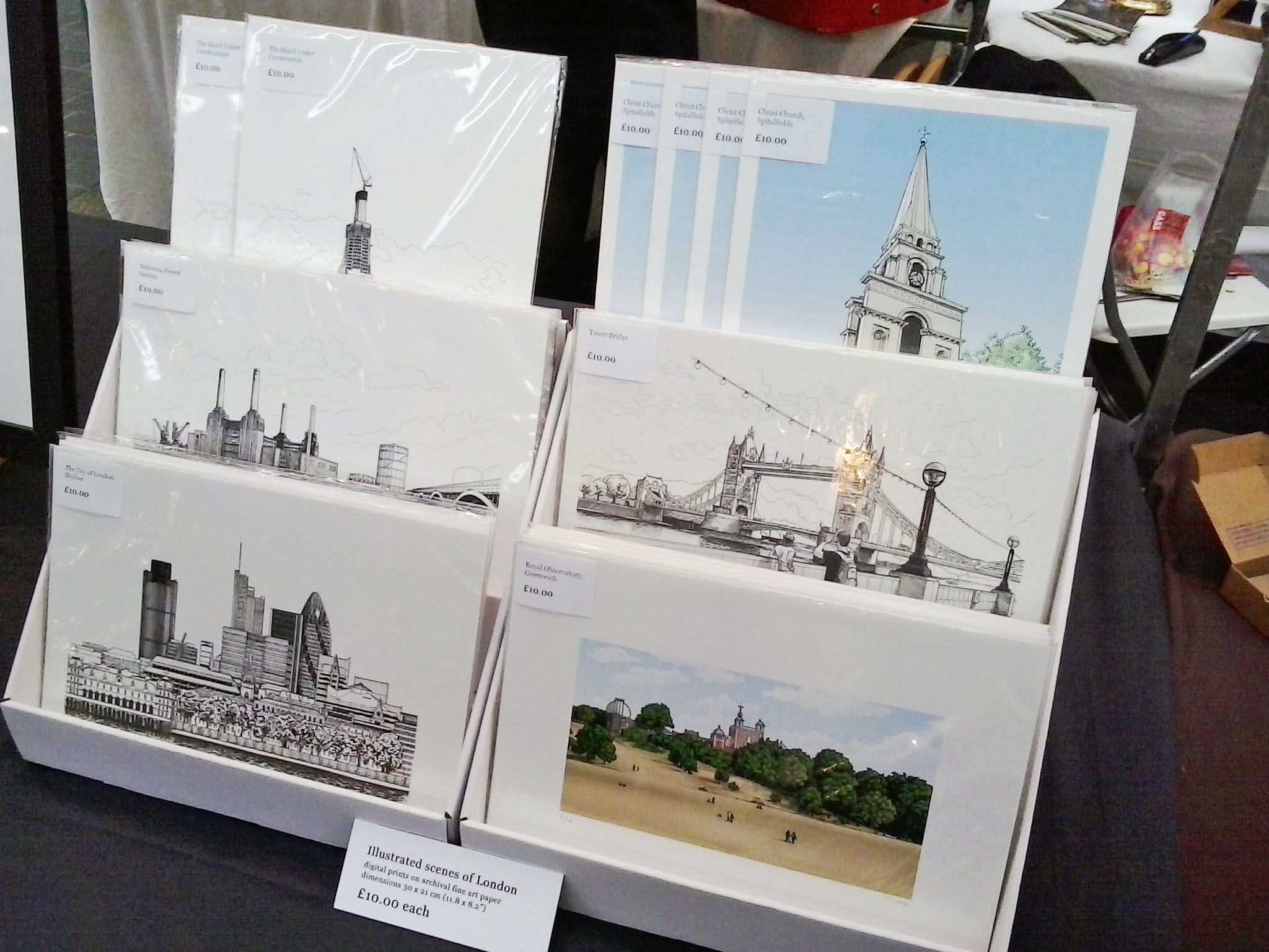 View of A4 prints on display at the We Make London Market, Old Spitalfields, London E1 on 10th November 2012