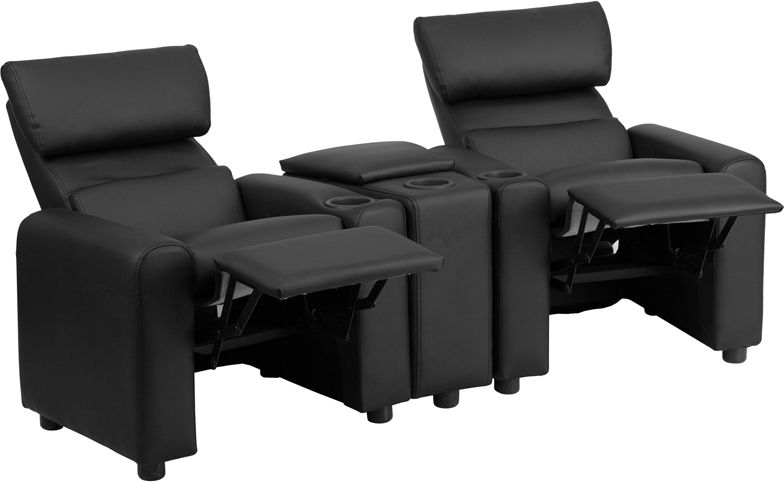 Flash Furniture Kid S Black Leather Reclining Theater Seating With Storage Console