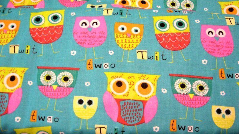 Stoff ♥bunte Eulen♥auf türkis, Baumwolle  Wunderschöner Stoff,feste Qualität, für deine kreative Zeit ob Taschen, Kleidung oder oder...  50 x 160 cm - oder mehr 100% Baumwolle