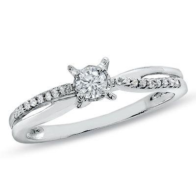 TW Diamond Crisscross Ring In 10K White Gold ITEM