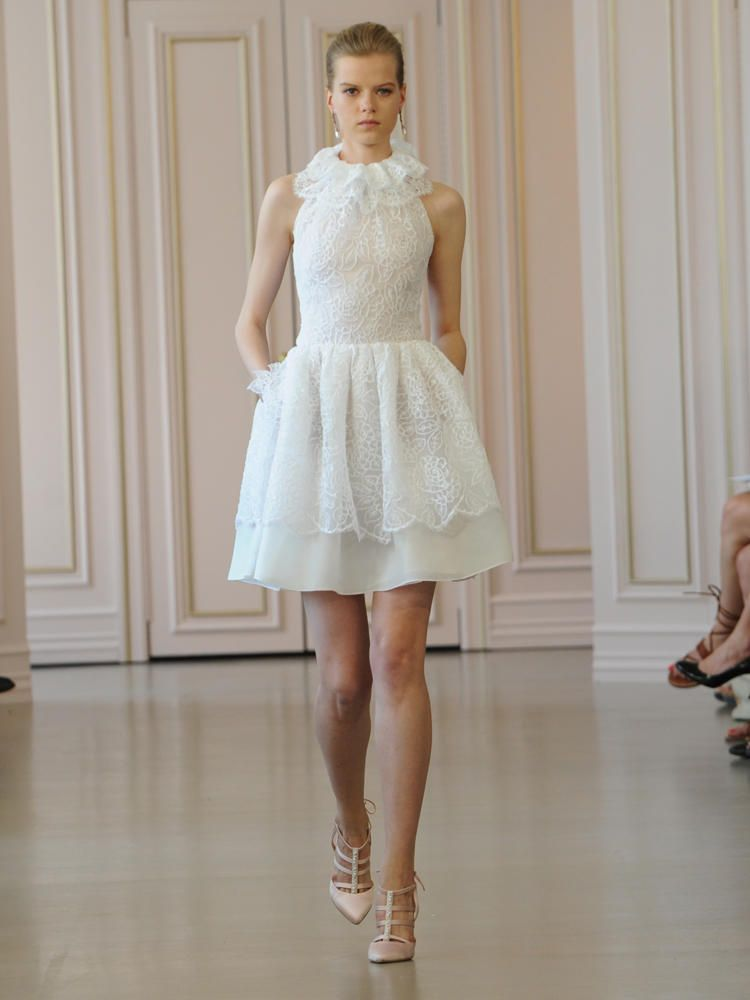 e067436e85e Oscar de la Renta white corded floral lace and satin faced organza cocktail  wedding dress with pocket detail and ruffle collar