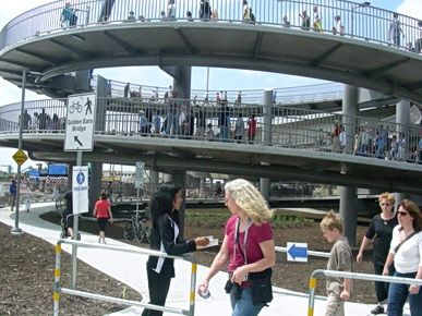 Completed Spiral Bike Pedestrian Ramp On Opening Day Of