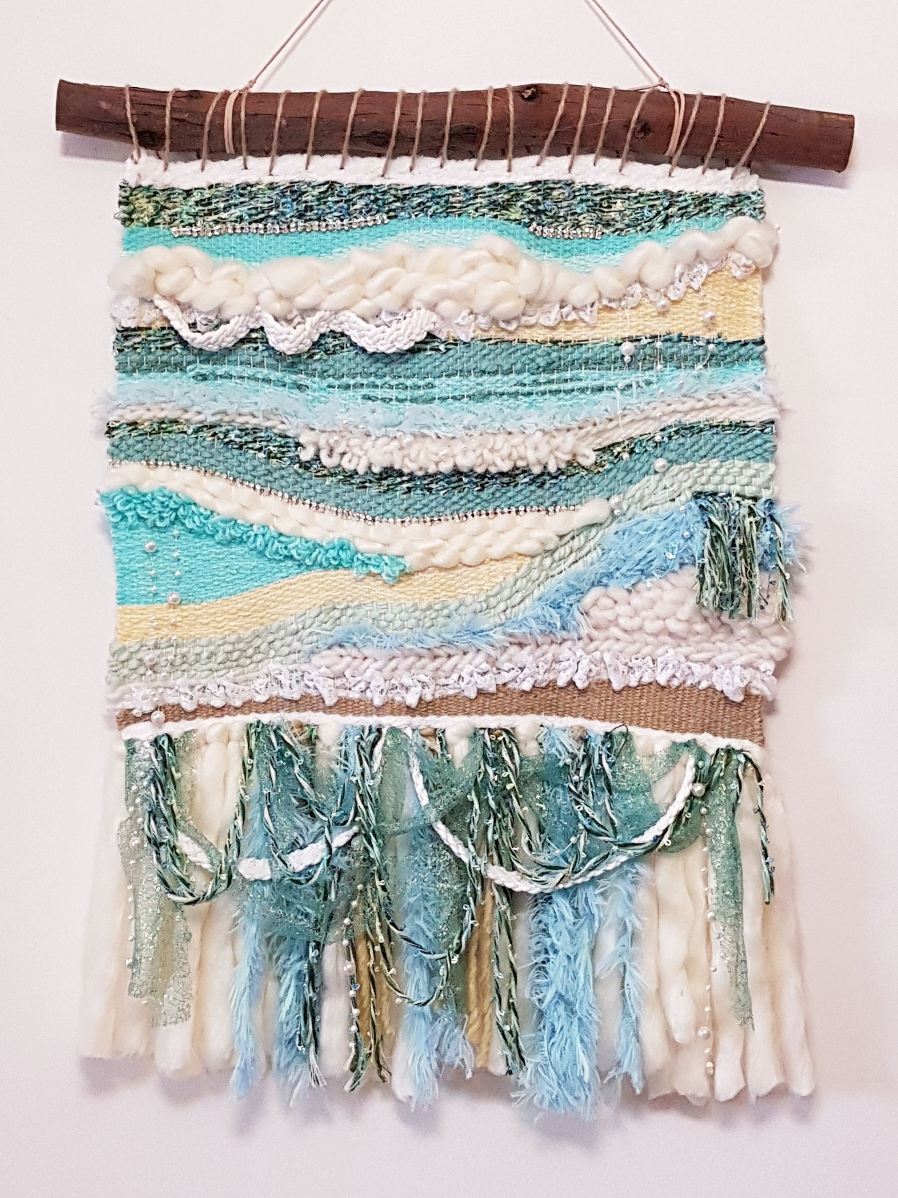 Commissioned By Beach Loving Aussies This Woven Wall Hanging Is Called The Waves And Matches Their Sea Th Woven Wall Hanging Yarn Wall Hanging Yarn Wall Art