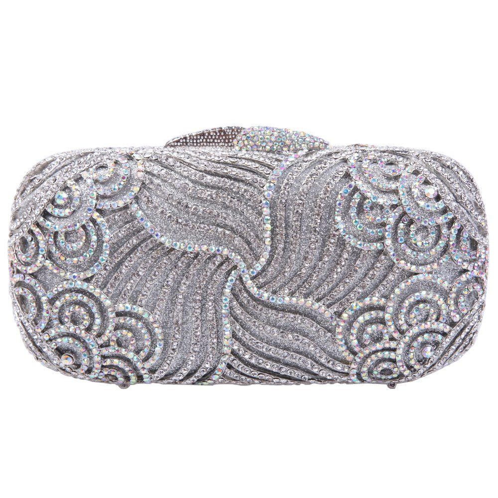 Fawziya Luxury Paisley Clutch Bling Rhinestone Clutch Hard Case Clutch Purse -Silver 8d173013ec921