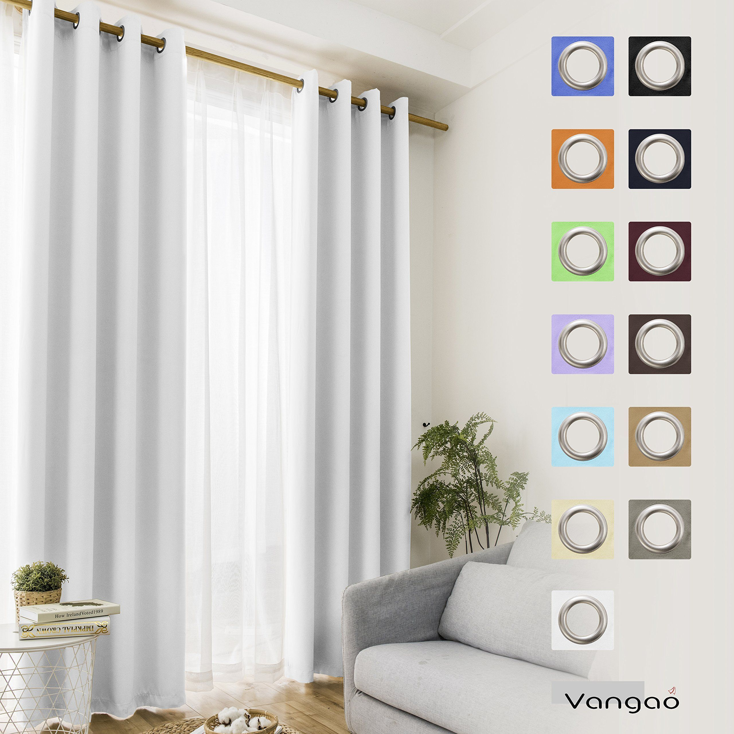 Vangao Light Blocking Greyish White Blackout Curtains Darkening Thermal Insulated Home Decorative Curtain Panels White Blackout Curtains Cool Curtains Curtains
