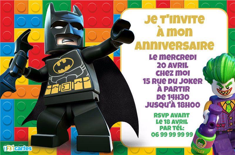 invitation anniversaire lego batman et