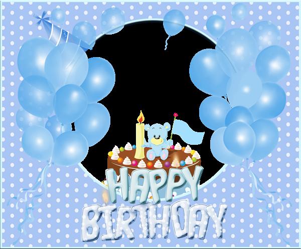 Transparent Happy Birthday Blue Frame Birthday Card