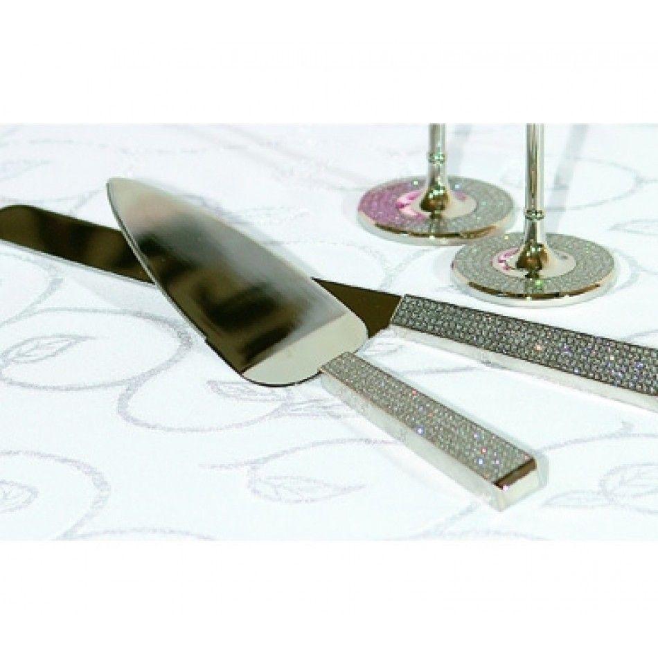 Diamond wedding cake knife and server set 48971b diamond