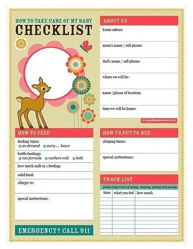 baby love babysitter checklist (printable pdf) baby Pinterest - babysitting information sheets