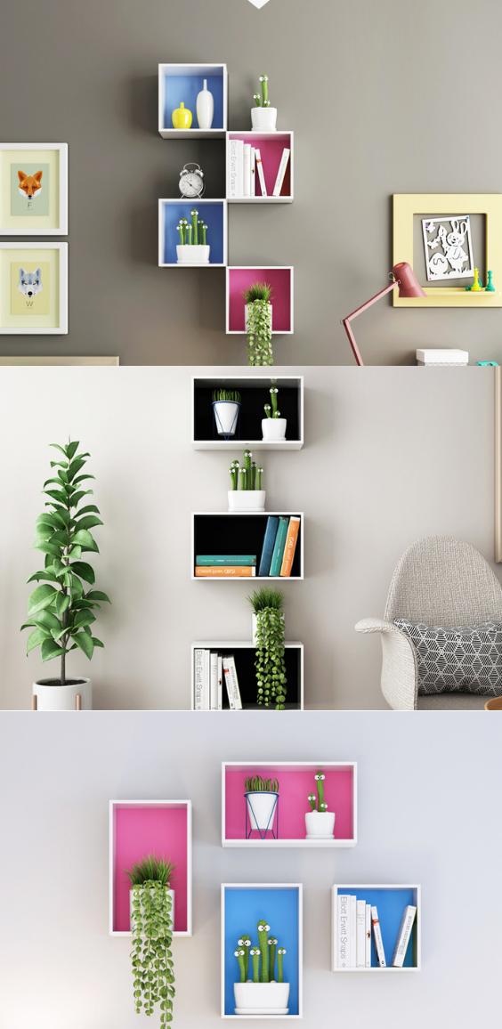 Pink Blue Wall Boxes Wall Racks Wall Hanging Shelves Wall Decor Bedroom Wall Bookshelves #wall #mounted #shelves #living #room