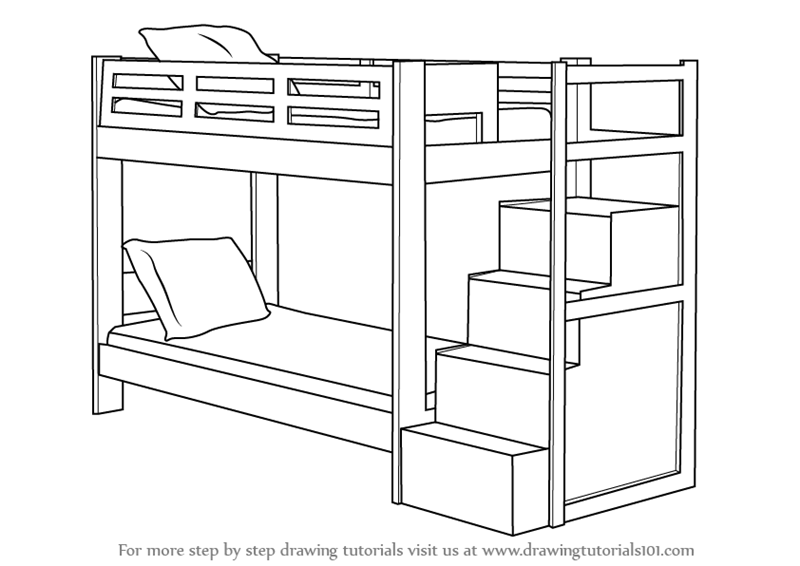 learn how to draw a bunk bed furniture step by step
