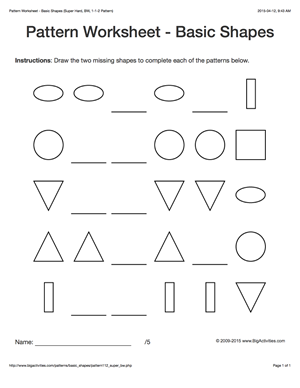 Pattern worksheets for kids black & white basic shapes