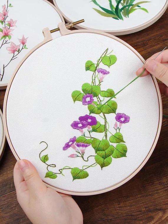 Garden Flowers DIY Embroidery Kit Printed Pattern Linen Hoop | Etsy