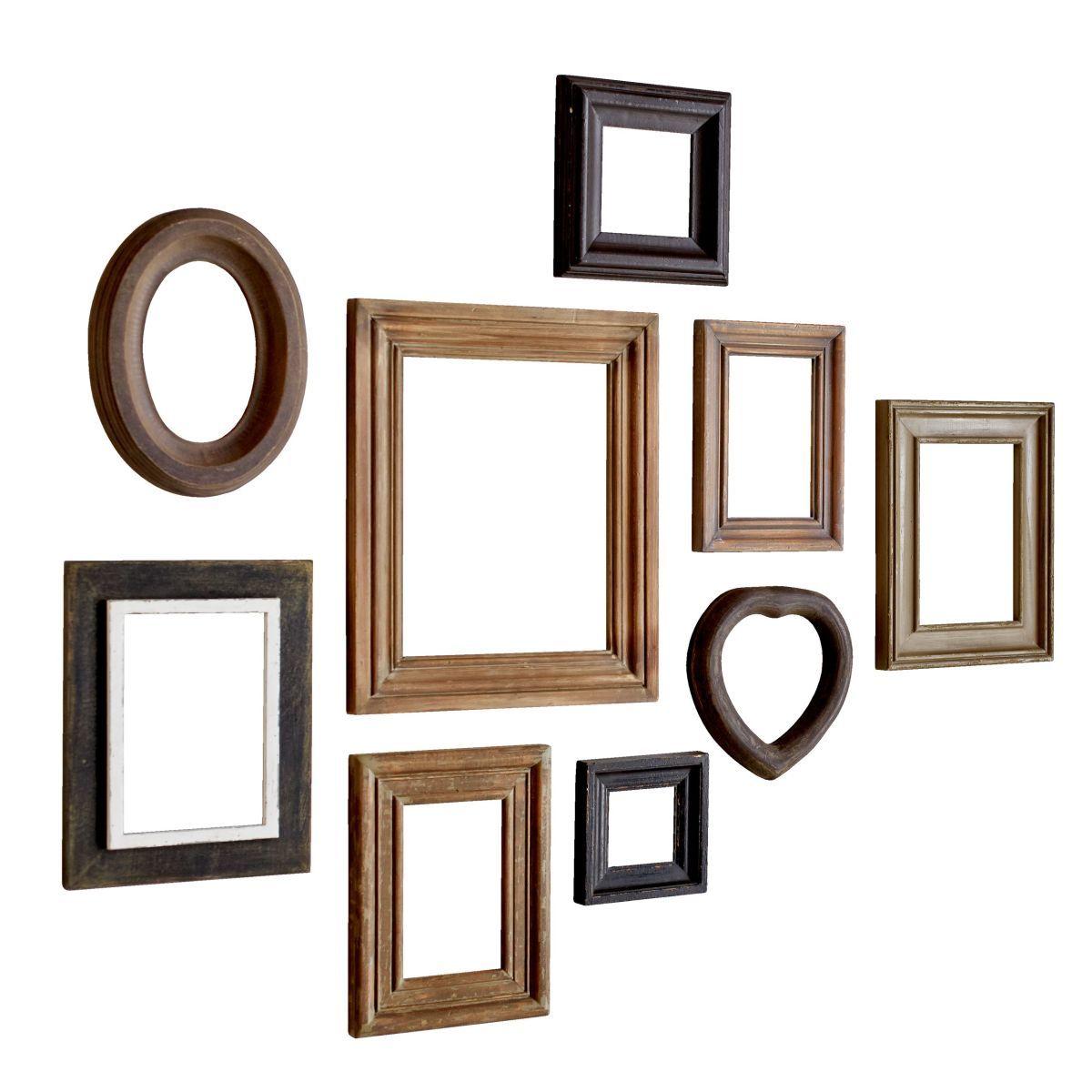 Bilderrahmen-Set, 9-tlg. Wood, Antik-Look, Holz Jetzt bestellen ...