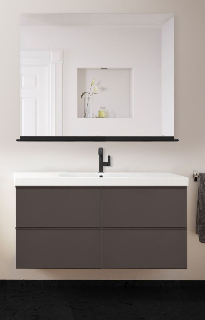 Mockup Of Mirror Shelf Faucet Sink Cabinet Maybe Have Two Wall Cabinets For Extra Storage Abov Bathroom Mirror With Shelf Bathroom Mirror Mirror With Shelf [ 1123 x 718 Pixel ]