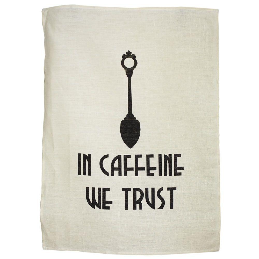 AMEN! In caffeine we trust teatowel via @hardtofind. by Eri & Trudi