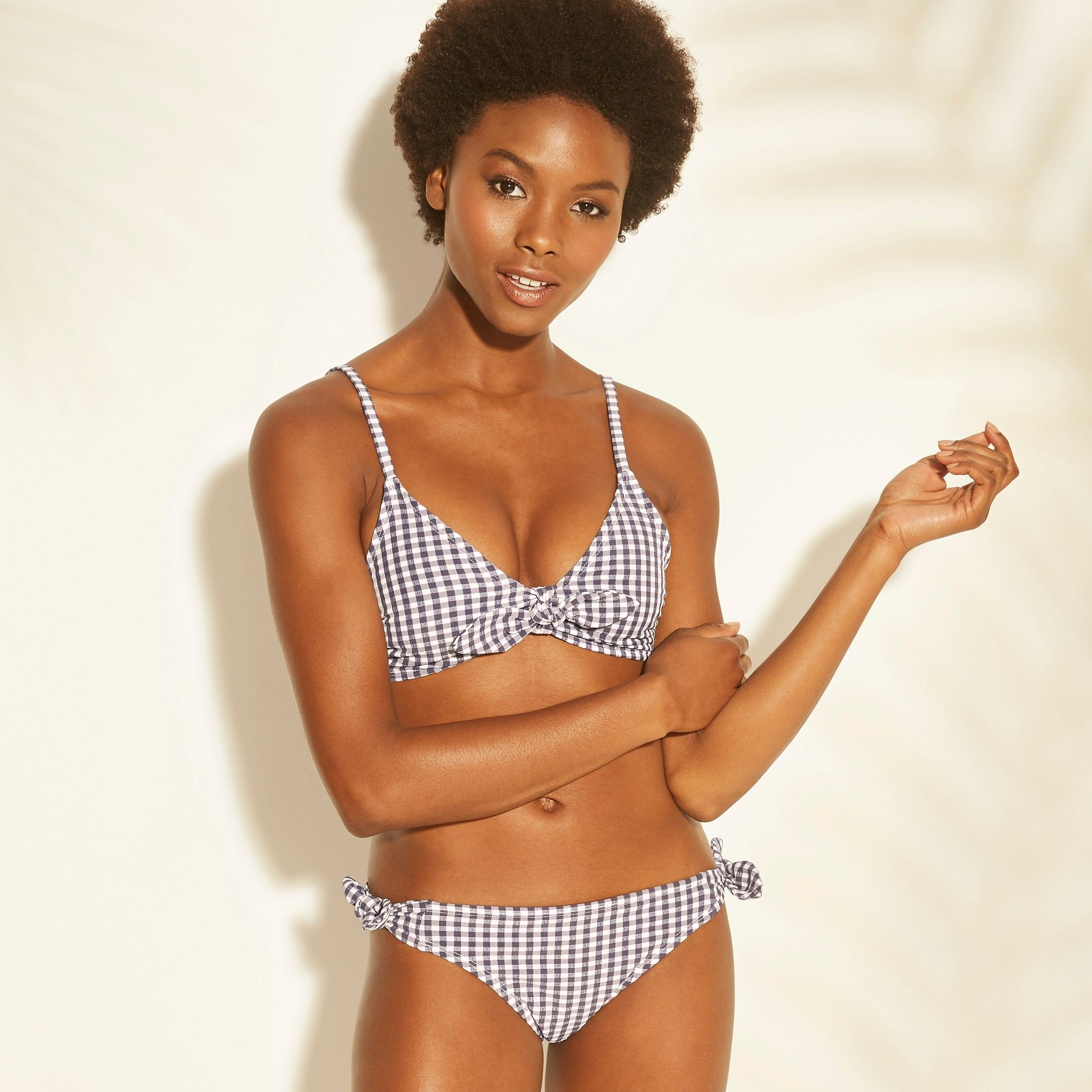 795bb6821 Women s Tie Front Gingham Bralette Bikini Top - Xhilaration Navy (Blue)  Gingham M