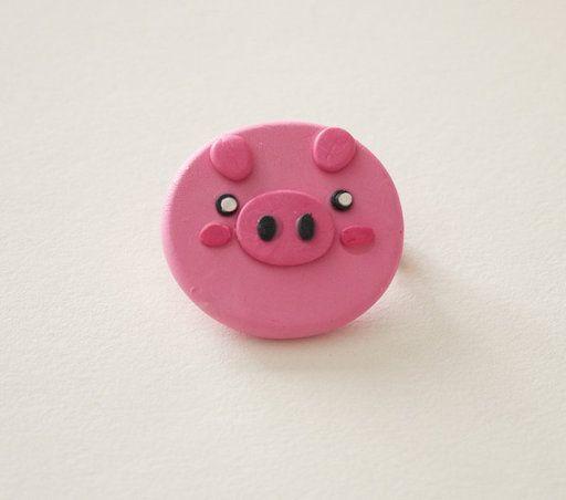Cute Polymer Clay Pink Piggy Brooch--Animal Serie