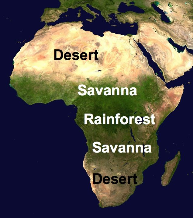 savanna located africa map
