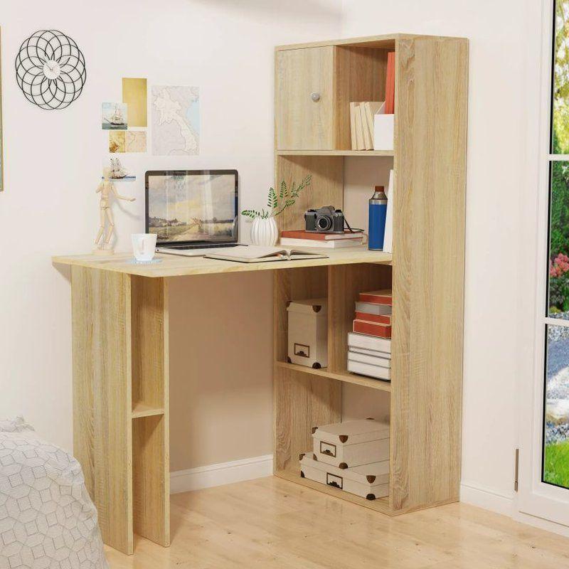 Wick Corner Desk Bookshelf Desk Small Corner Desk White Computer Desk