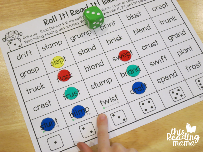 Phonics Dice Games for Blends and Digraphs Free games