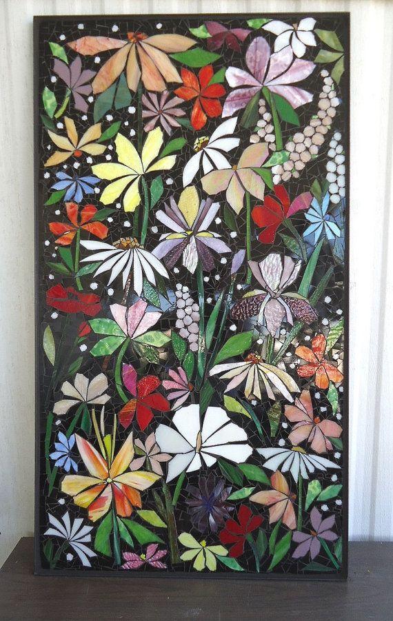 Exterior Mosaic Wall Art Stained Glass Wall Decor Floral Garden Indoor Outdoor Patio Art Wall Hanging Made To Order Art Stained Mosaic Wall Mosaic Artwork