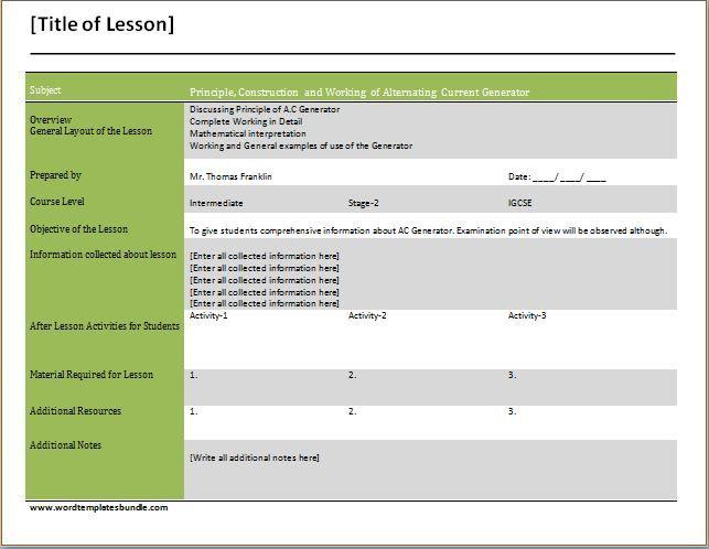 Teachers Daily Lesson Planner Template At Wordtemplatesbundle