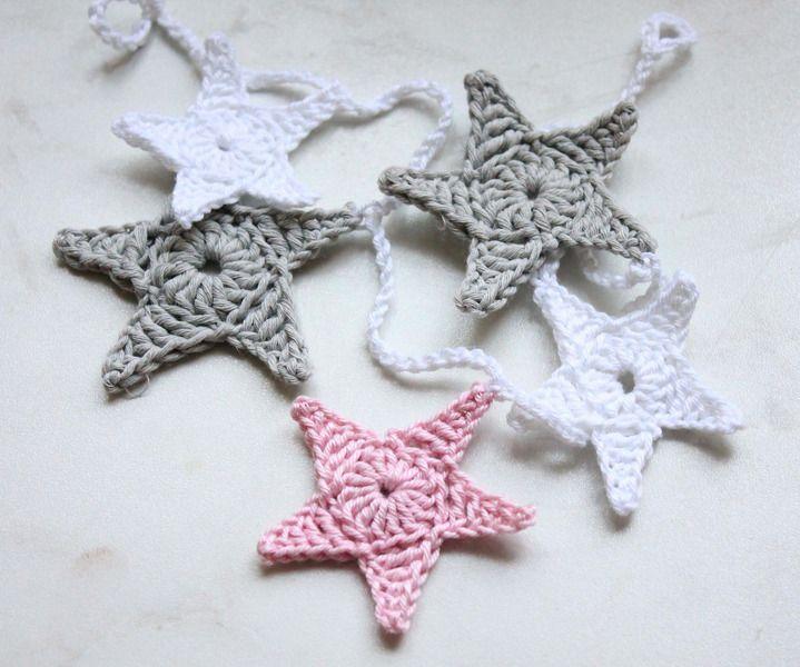 Sternengirlande Wimpelkette shabby rosa Girlande von Nostalgie Gretel häkelt und schenkt auf DaWanda.com