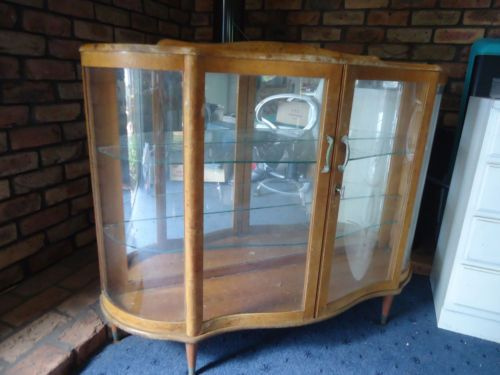 Antique Art Deco Mirror Back Bow Front Crystal China Display Cabinet