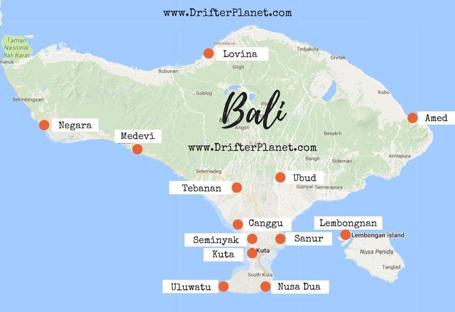 Bali Karte Canggu.Bali Map Where To Stay In Bali Bali Indonesia In 2019 Bali