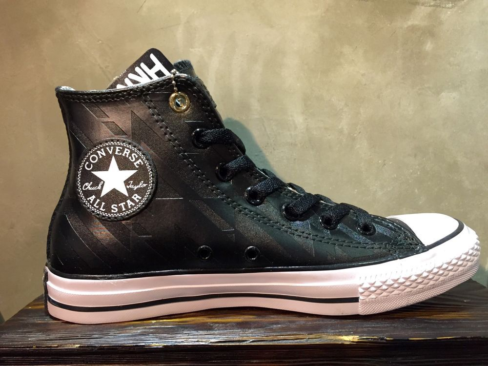 b8b78a195622 New Converse Chuck Taylor All Star Black Stripes Leather HI Men Shoes  152536C…