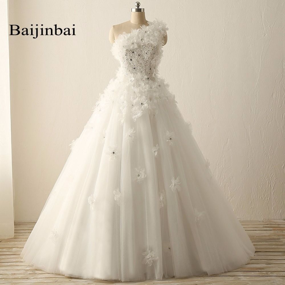 4740c527acc Baijinbai New Real Top Crystal Luxury Wedding Dresses Beads One Shoulder  Flower Bridal Wedding Dresses vestido