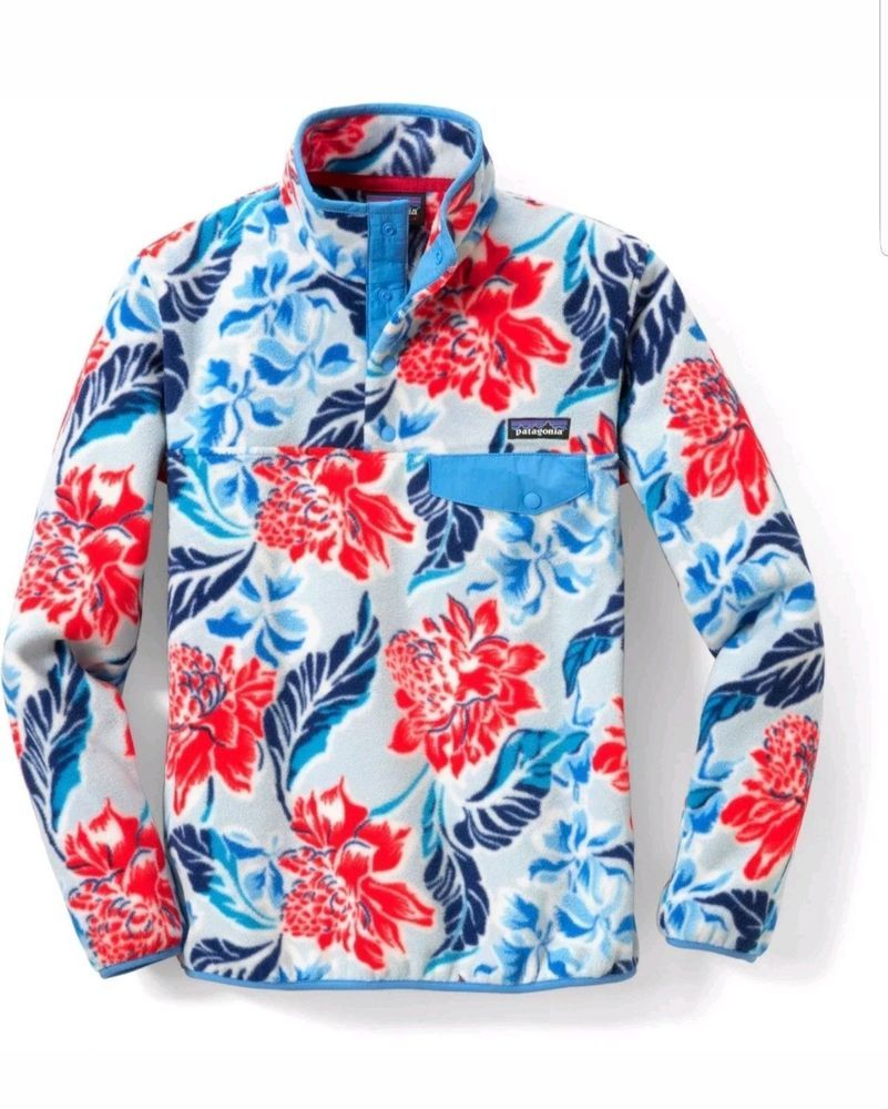 PATAGONIA Women s Synchilla Size M Snap-T Pullover Rare Hawaiian Floral  Blue Red  fashion  clothing  shoes  accessories  womensclothing   coatsjacketsvests ... 6441d0a4e