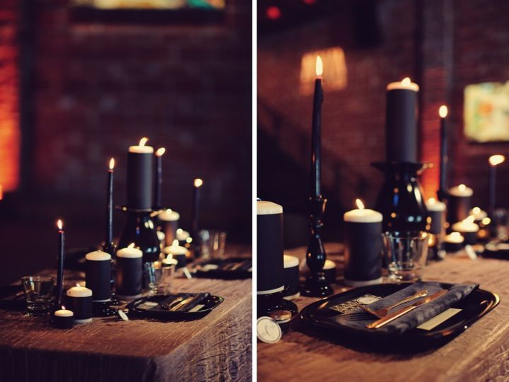 Modern Black Taupe Inspiration Shoot Green Paper And Table