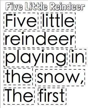 5 Little Reindeer Christmas Pocket Chart Poetry Packet