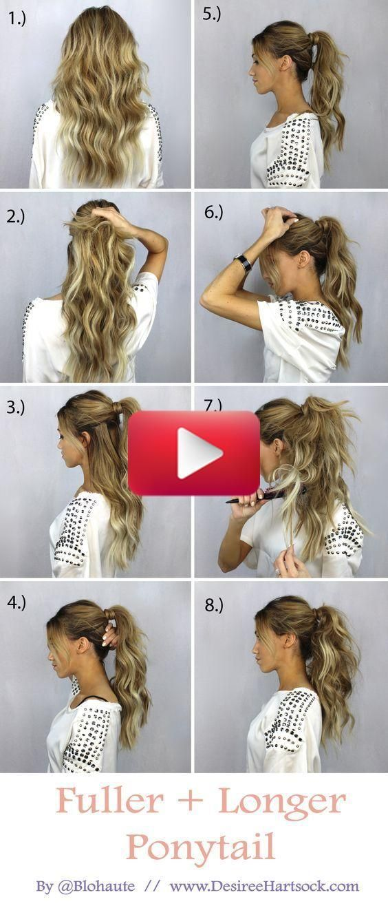 Fuller Ponytail Easy Hairstyles #10 #fullerponytail Fuller Ponytail Ponytails are stylish and effortless, but playful at the same time. It's a hairstyle that will make you look casual and fresh, even when you don't have time for a special hairdo. If you wish for a long and voluminous ponytail, there is a simple trick that can be done quick and easy. #longhairstyles #shorthairstyles