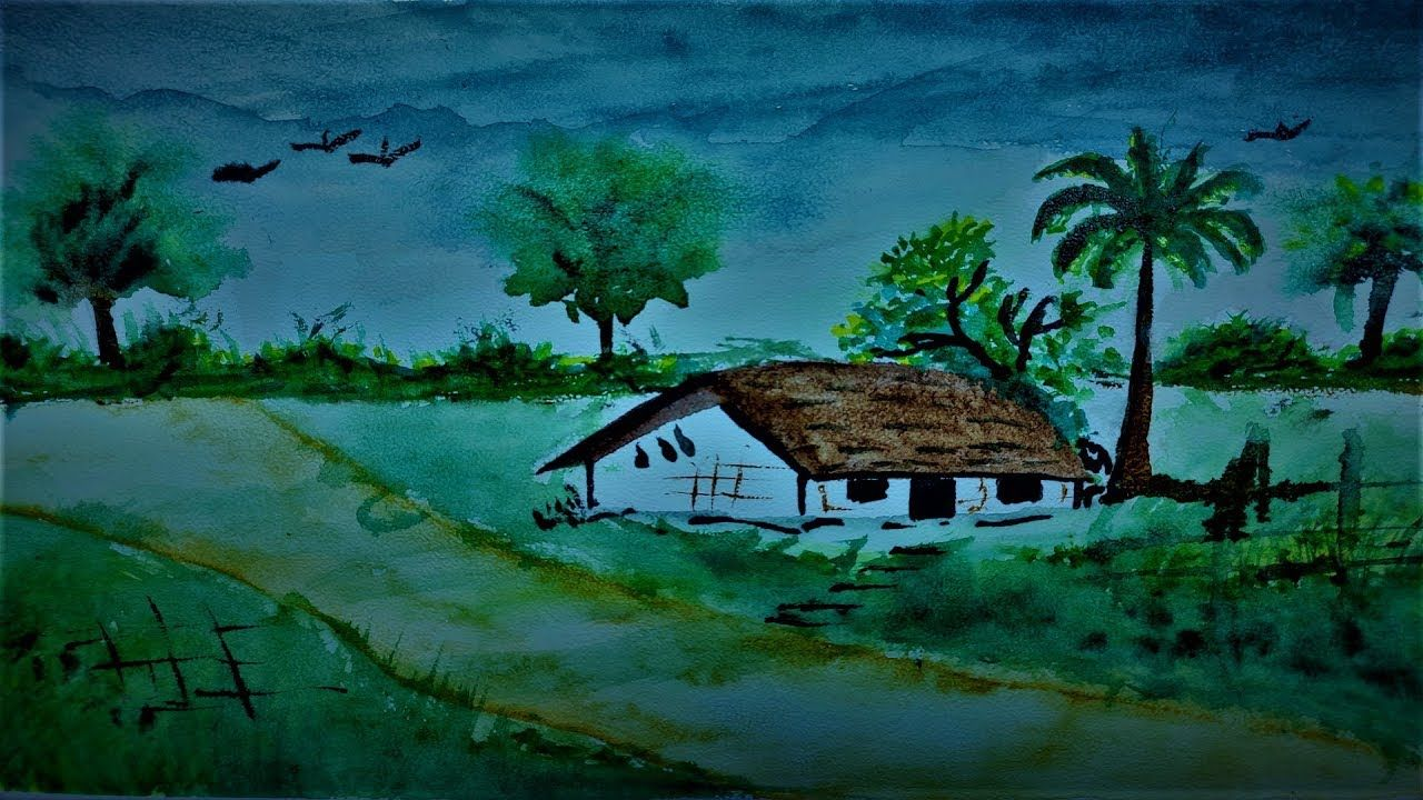 How To Draw Landscape Village Home Scenery Of Beautiful Nature Step By Beautiful Nature Nature Scenery