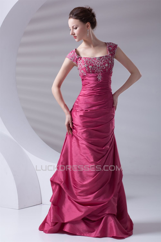 A-Line Taffeta Capped Sleeves Floor-Length Prom/Formal Evening ...