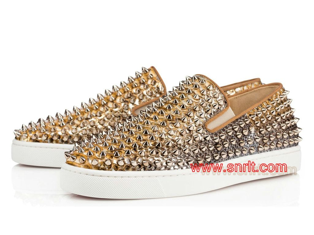 Basket Femme Christian Louboutin Roller-Boat Python Tropicana Or  1150741_F058 - 1603090725 - Les Boutique