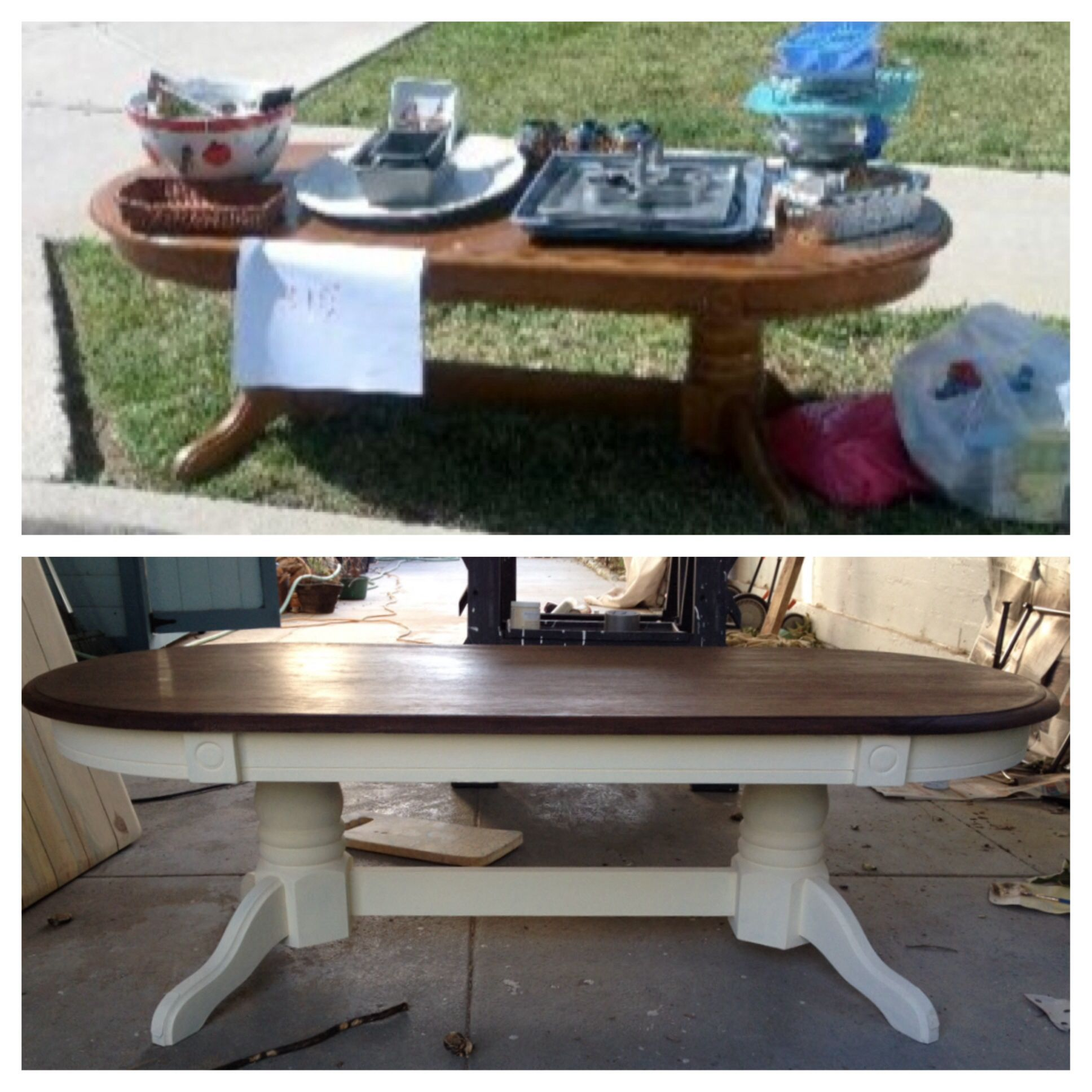 Refurbished coffee table done with eggshell chalk paint and dark