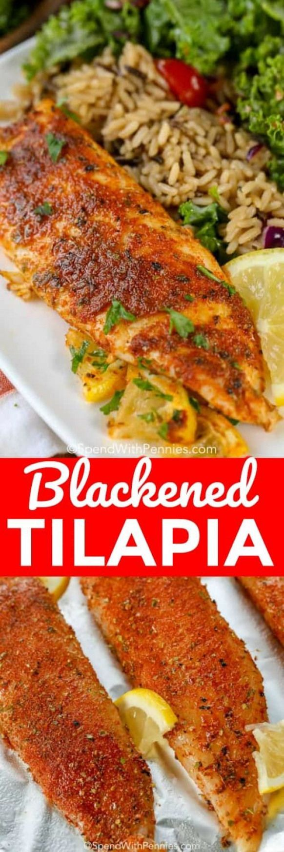 Your favorite recipe source for healthy food [Paleo, Vegan, Gluten free] Blackened Tilapia is a delicious blackened fish recipe that is on the table in under 10 minutes! Perfect for a quick weeknight meal and so easy to make!
